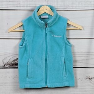 KID'S COLUMBIA Turquoise Fleece Vest Sz XXS 4-5